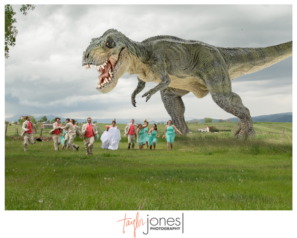 T-Rex with bridal party