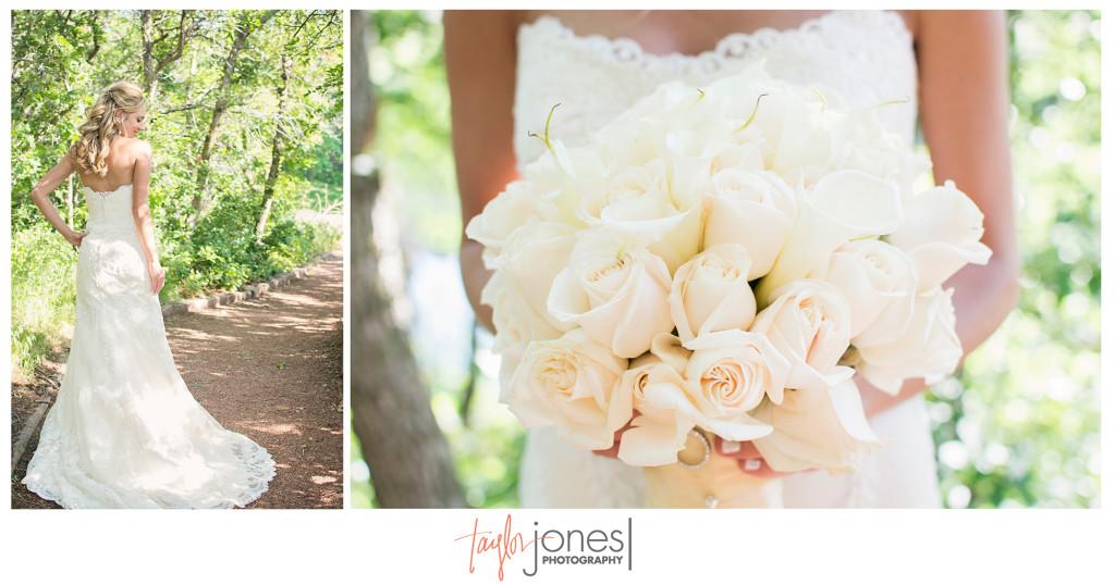 Denver bride with her flowers at Arrowhead Golf Club