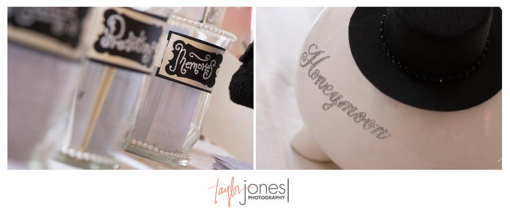 Honeymoon fund and advice jars at Arrowhead Golf Course wedding