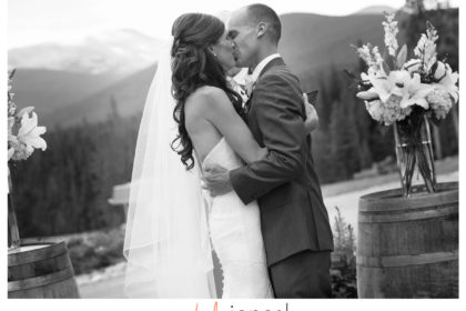 First kiss in black and white at the Ten Mile Station, Rocky Mountain Wedding, Breckenridge, CO