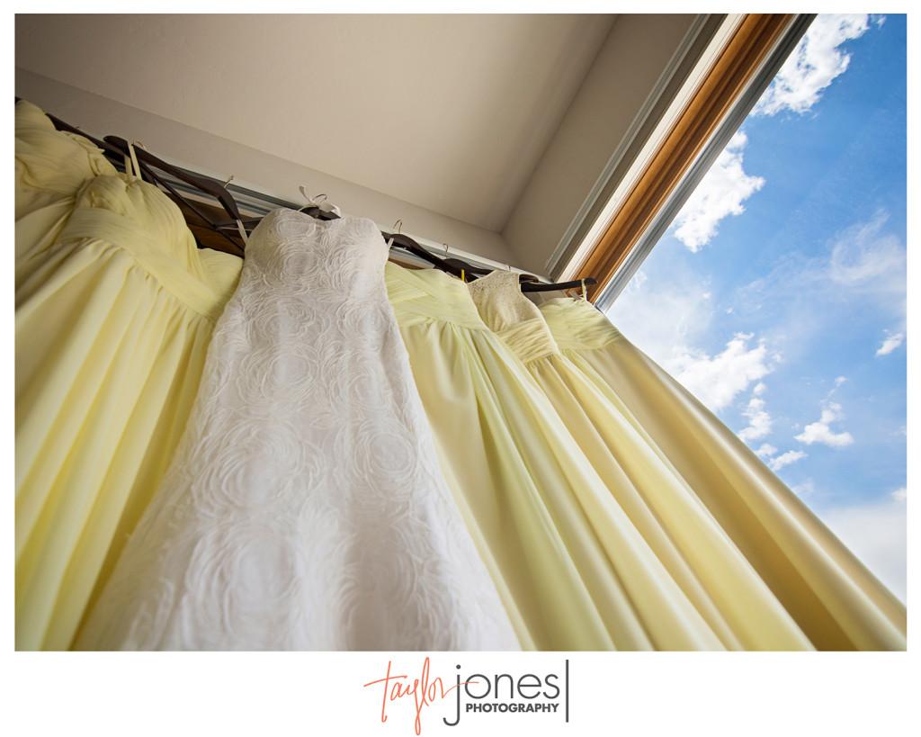 Dresses hanging