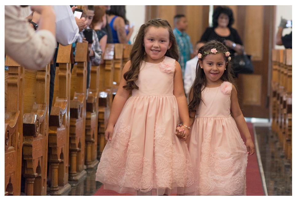 Flower girls at Catholic wedding