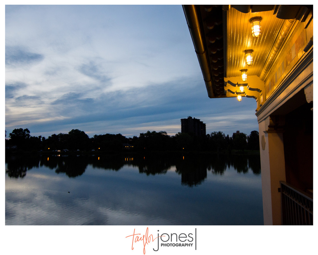 Sunset at Washington Park Boat House wedding