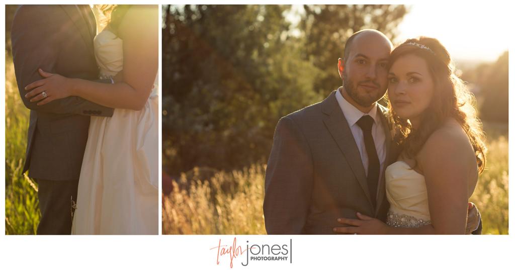 Couple at sunset, Denver wedding at Villa Parker