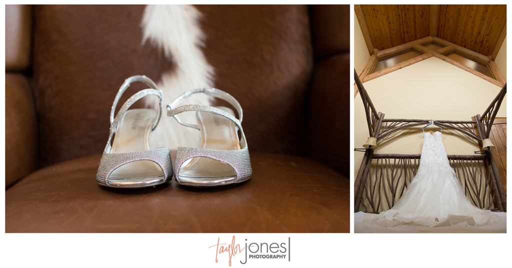 Wedding shoes and dress against cow hide and branch bed at Rubywood home Breckenridge
