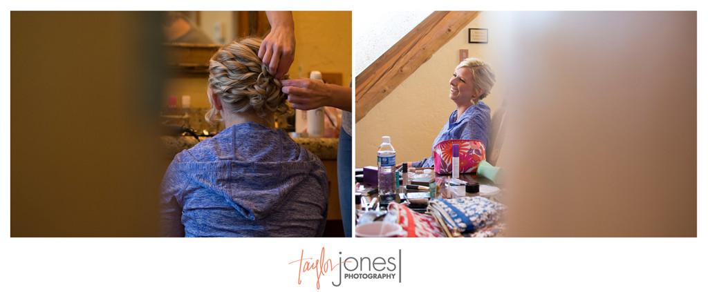 Bride doing wedding makeup