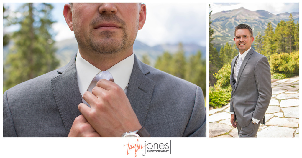 Groom with Breckenridge mountains