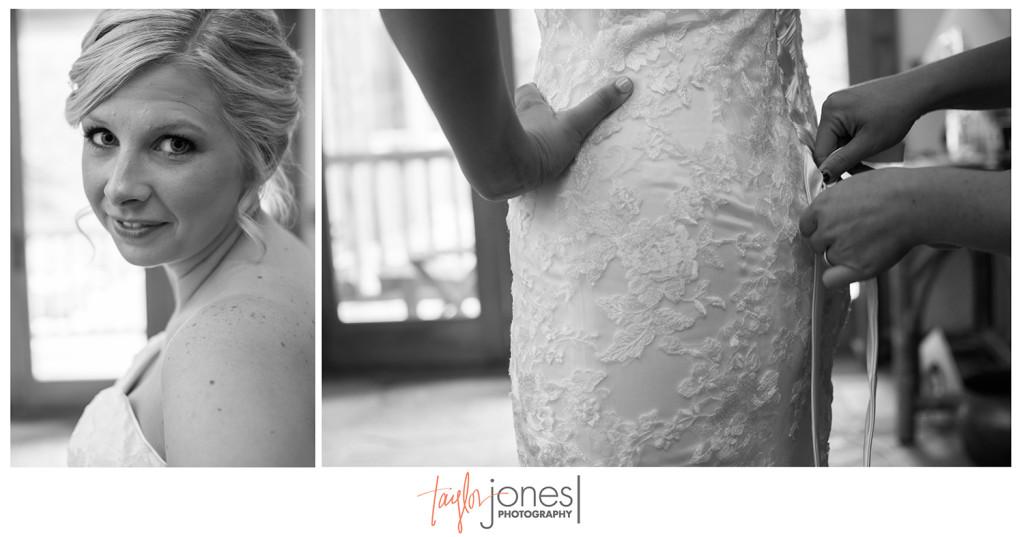 Bride lacing her dress at Colorado wedding, Rubywood home, Breckenridge