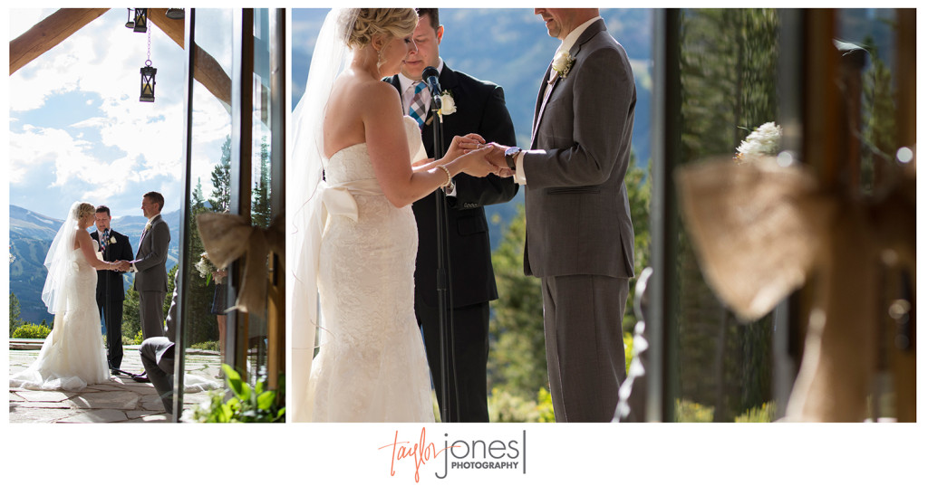 Exchanging of the rings with mountain backdrop