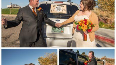 Getaway car at Arrowhead Golf Course wedding