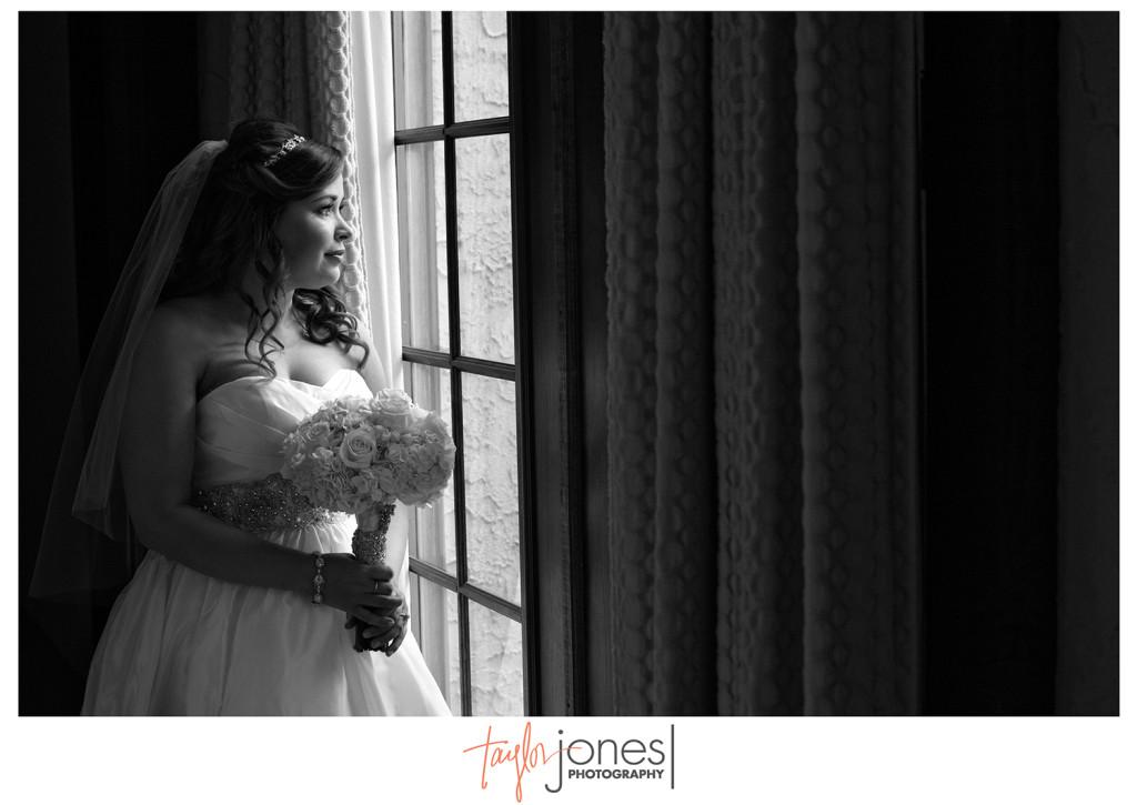 Bridal portrait in window at Villa Parker