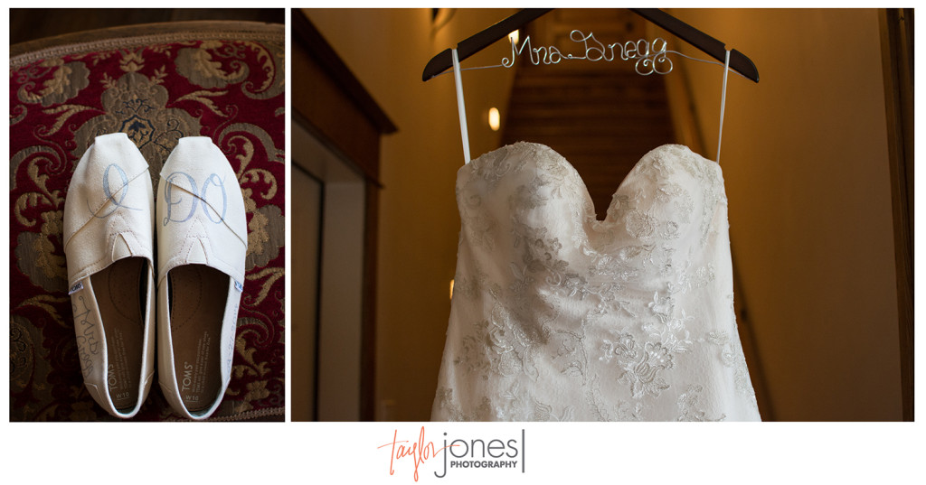 Bride dress and shoes at Edgewood Inn wedding