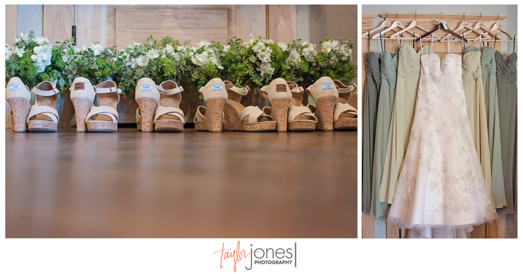 Bridesmaids shoes and dresses at Edgewood Inn