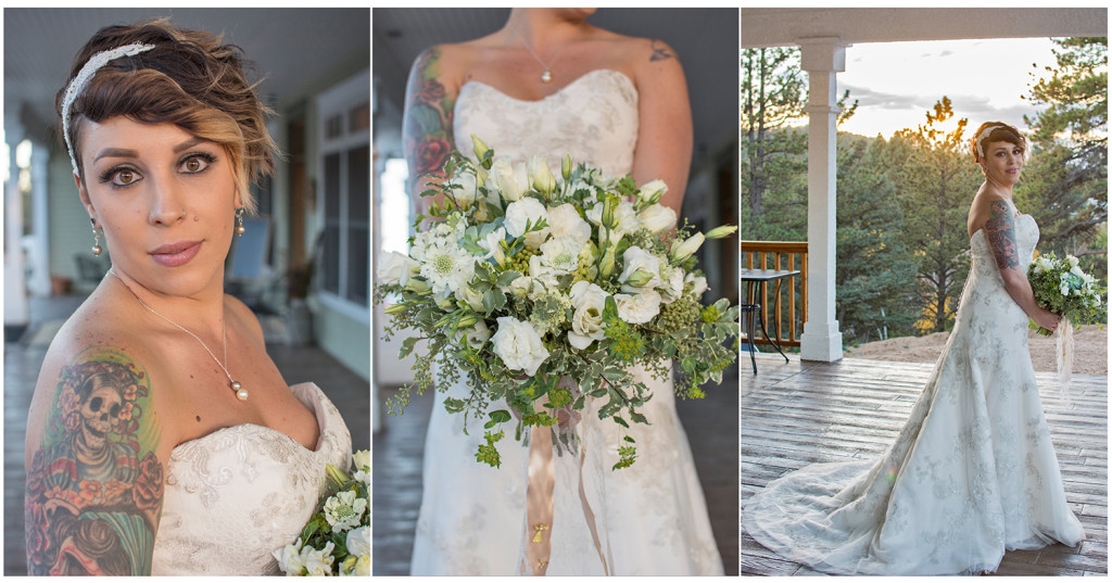 Bride Nicole Gregg at the Edgewood Inn Woodland Park wedding