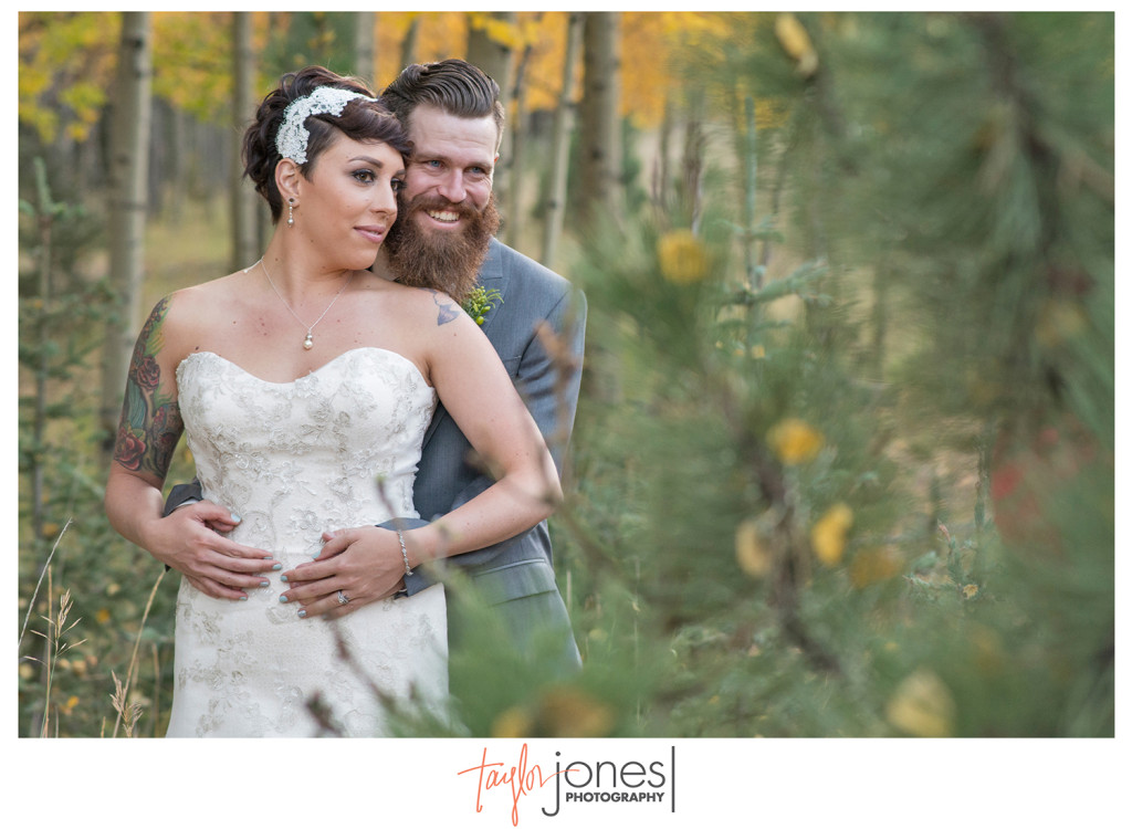 Bride and Groom at wedding in aspens