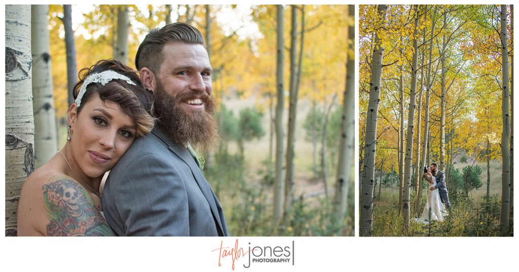 Bride and groom in aspens at Edgewood Inn