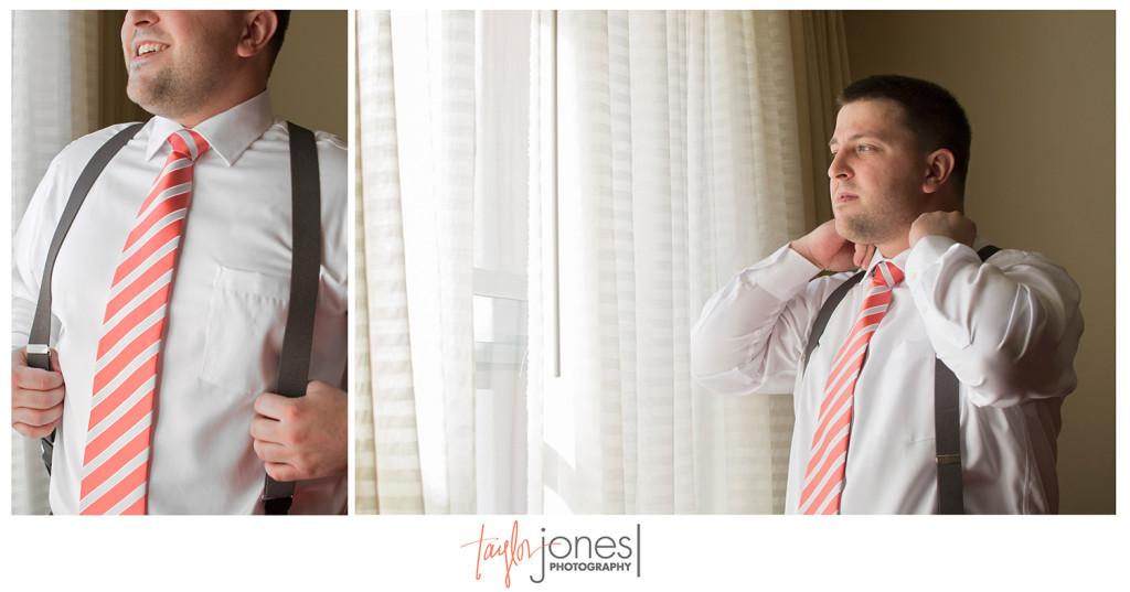 Groom preparing for wedding day