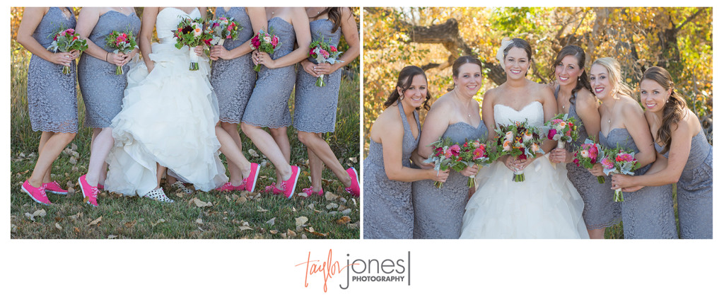 Bridal party with pink shoes