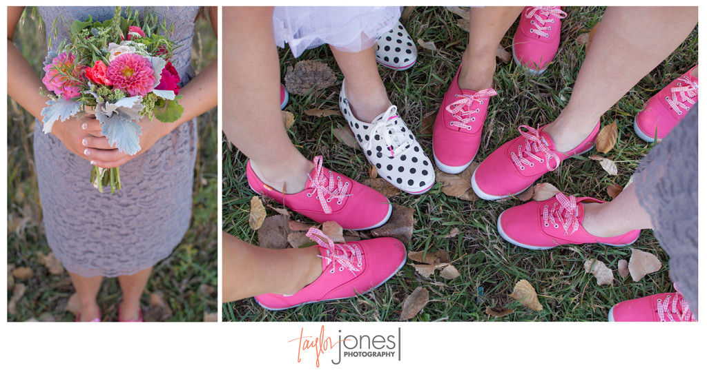 bridal party shoes and flowers at fall wedding