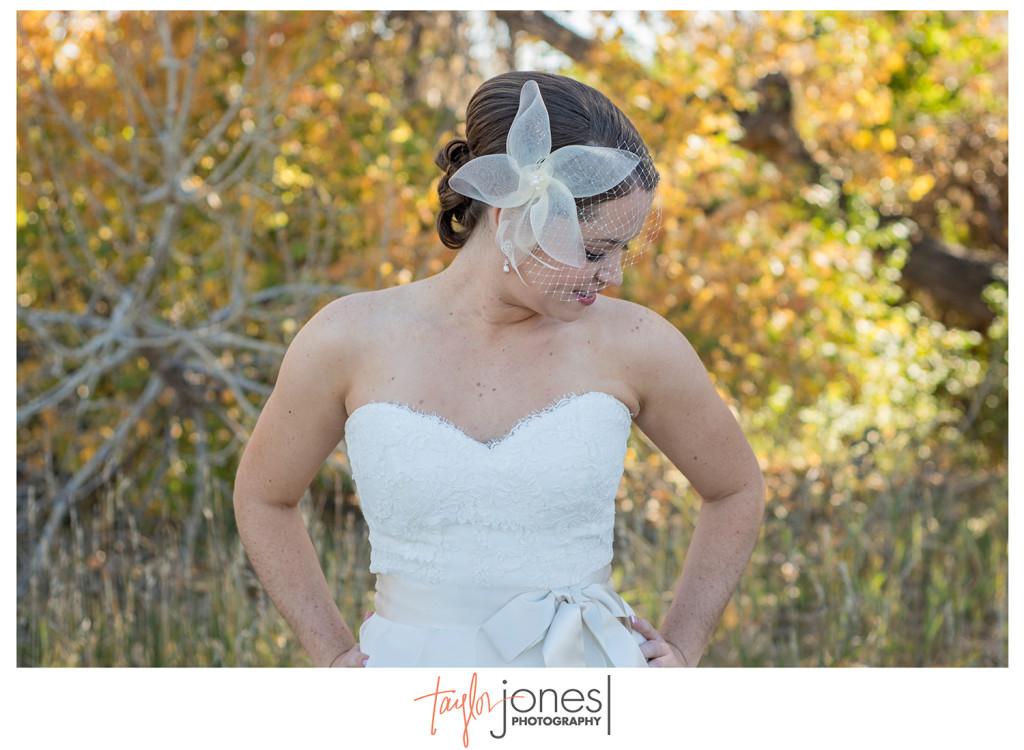 Fall bride at Colorado wedding Pines at Genesee