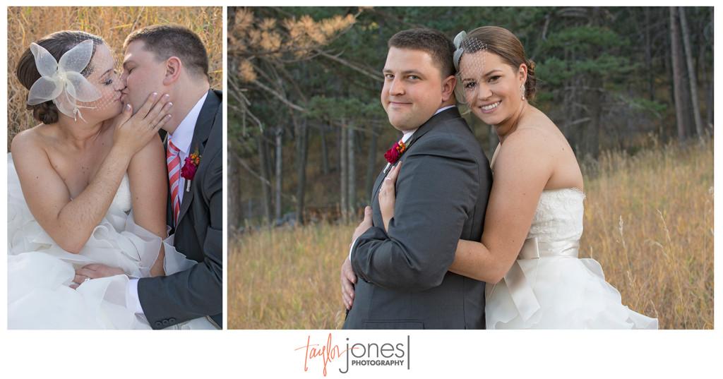 Bride and groom portraits at wedding in Golden Colorado