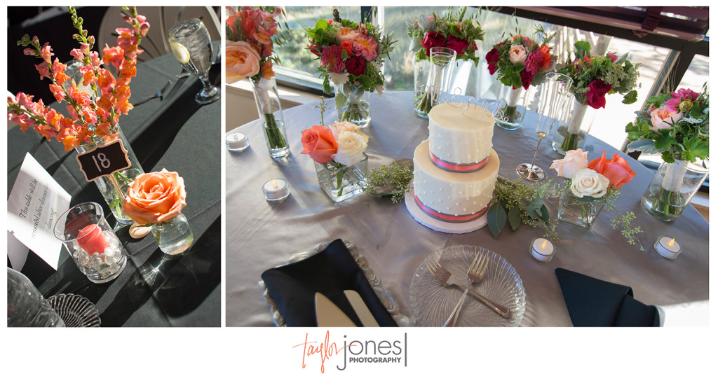 Cake and center pieces at Pines at Genesee wedding