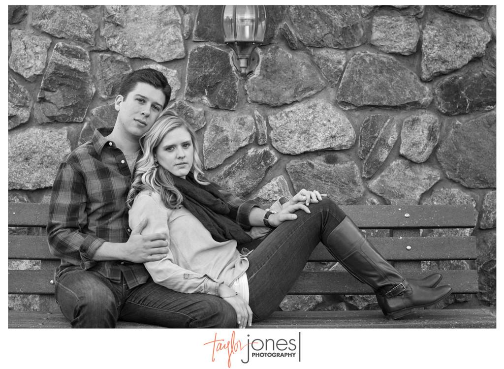 Black and white shot of Megan and John