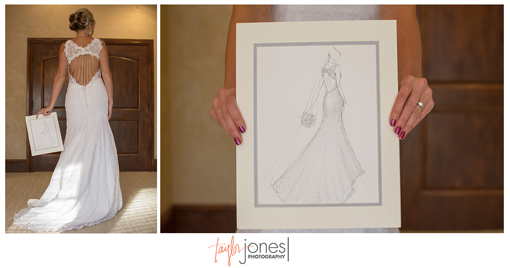 Mother of the bride gift of illustrated dress