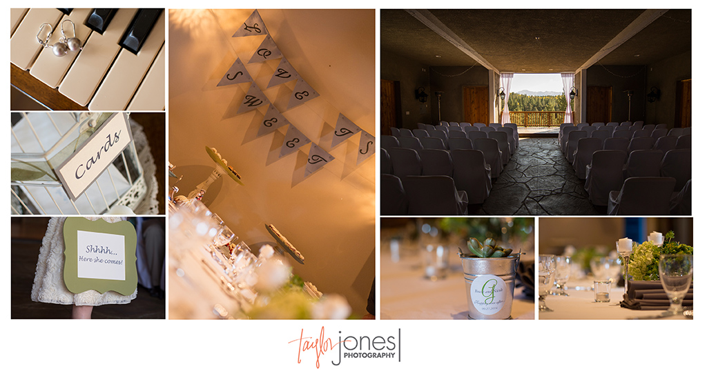 Details at green and gray wedding at the Edgewood Inn