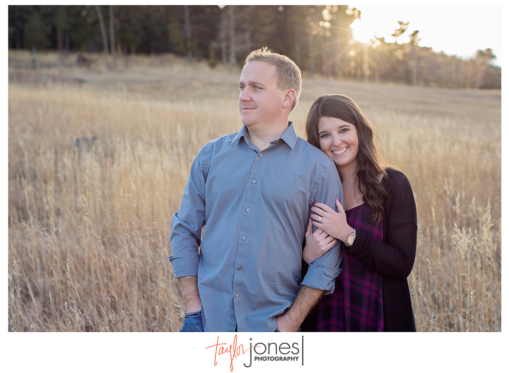 Couple at sunset for engagement shoot at Meyer Ranch Park