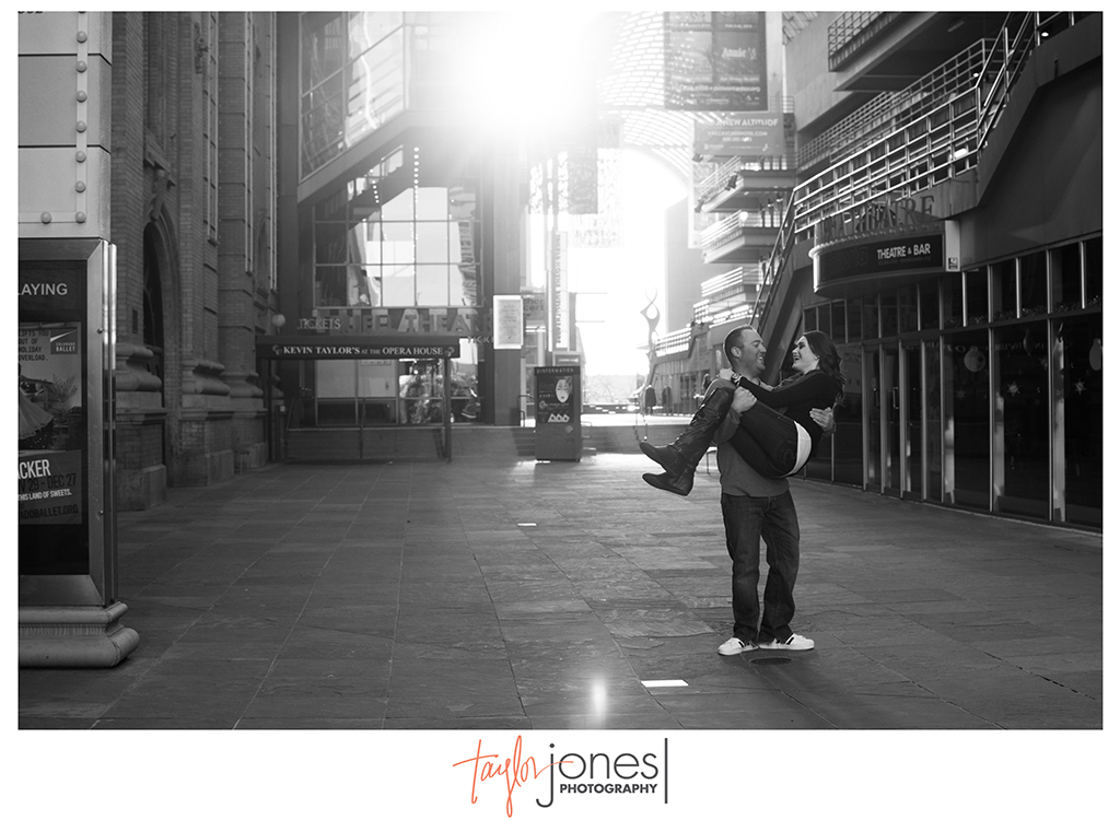 Sunset in downtown Denver engagement shoot