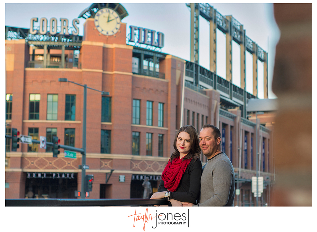 Coors field downtown Denver engagement photos