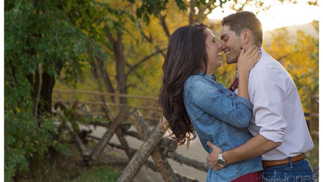 Golden Colorado engagement and wedding photographer, engagement shoot at Clear Creek Historic Park in downtown Golden, fall engagement shoot, couple giggling