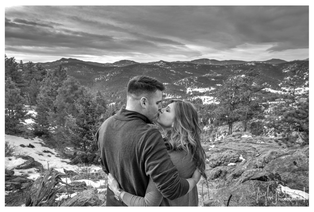 Black and white photo from engagement shoot at Mt. Falcon