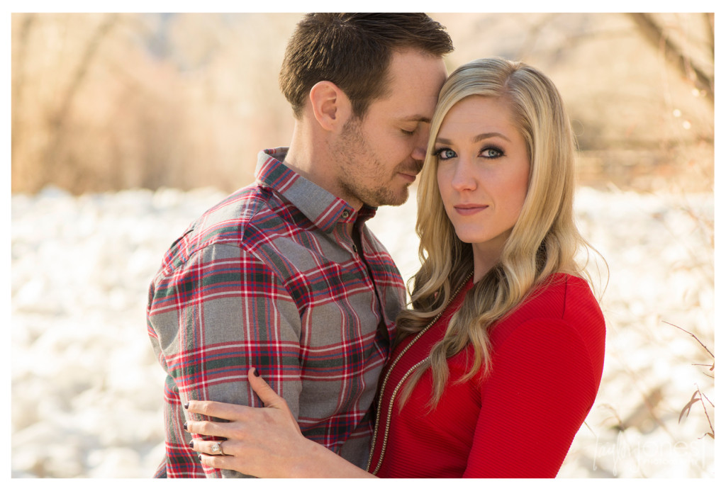 Winter engagement shoot at Clear Creek Historic Park in Golden, Colorado