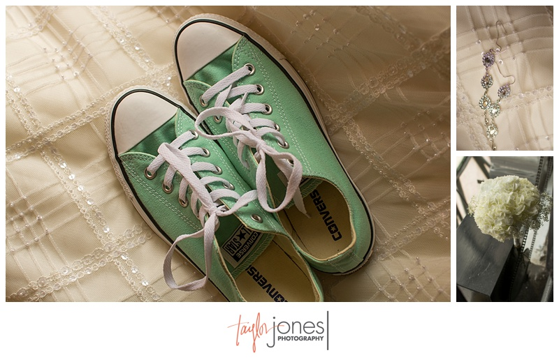 Mint green Converse shoes and detail photos at Denver clock tower wedding