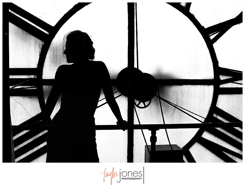 Bridal silhouette at Denver Clock Tower wedding