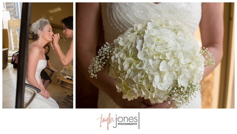 Bridal makeup and flowers at Denver Clock Tower wedding