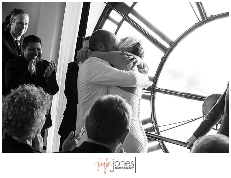 First kiss during Ceremony at Denver Clock Tower wedding