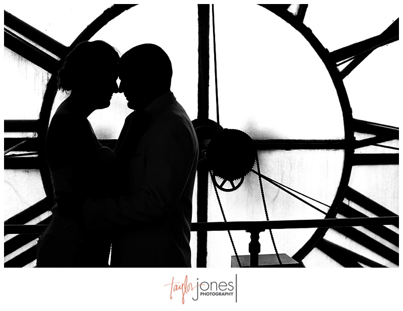 Bride and groom portrait at Denver Clock Tower Wedding