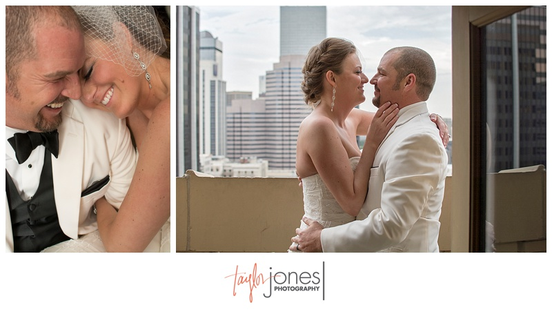Bride and groom portrait with downtown Denver at Denver Clock Tower Wedding