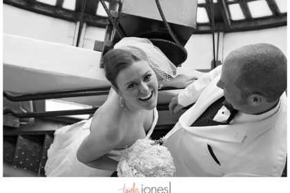 Bride and groom in staircase at Denver Clock Tower Wedding