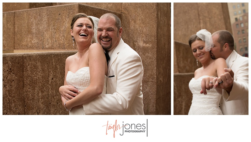 Bride and groom portraits downtown Denver at Denver Clock Tower wedding