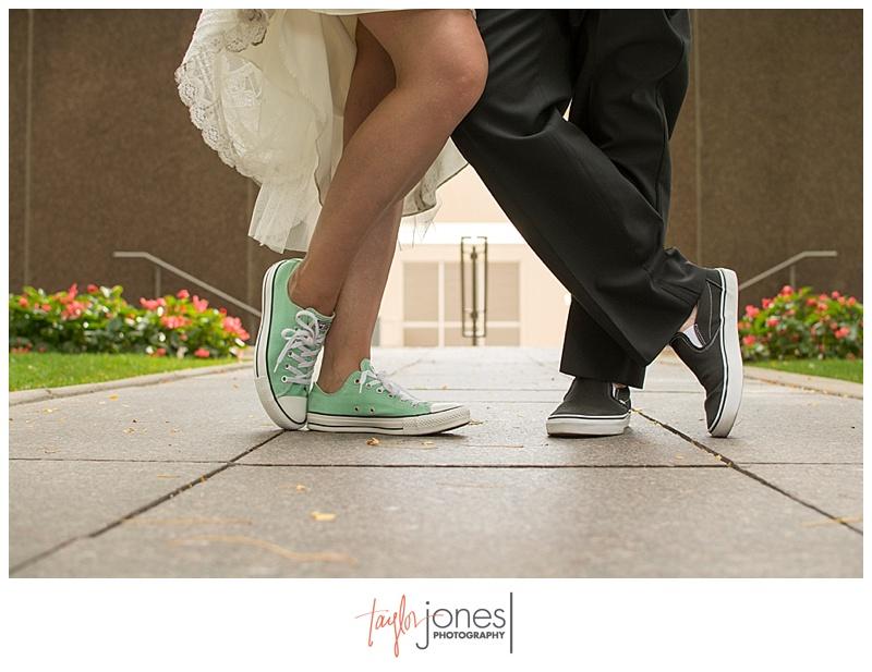 Bride and groom portraits downtown Denver at Denver Clock Tower wedding, shoe shot