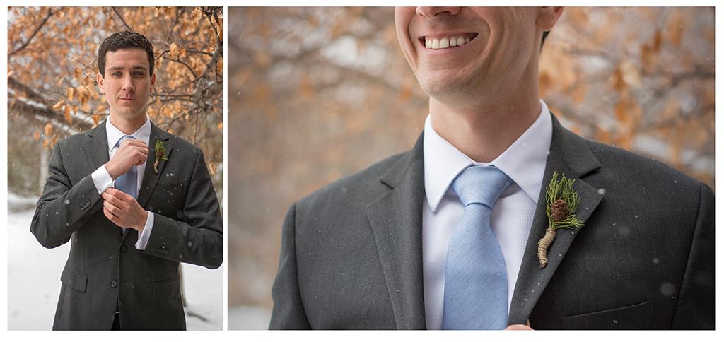 Groom handmade boutonniere at winter wedding