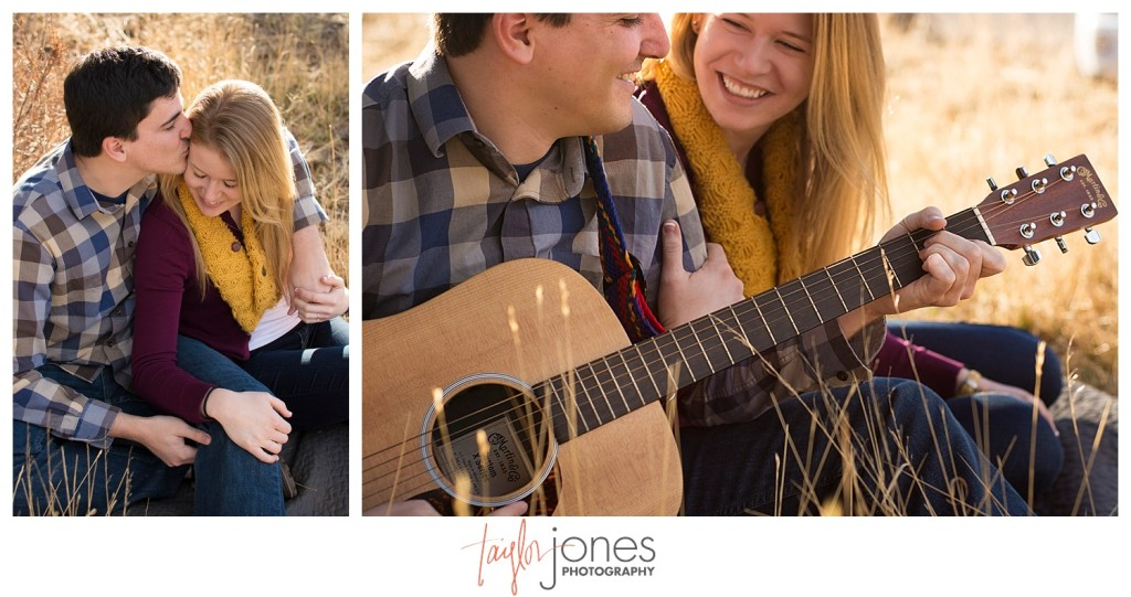 Evergreen engagement shoot with guitar