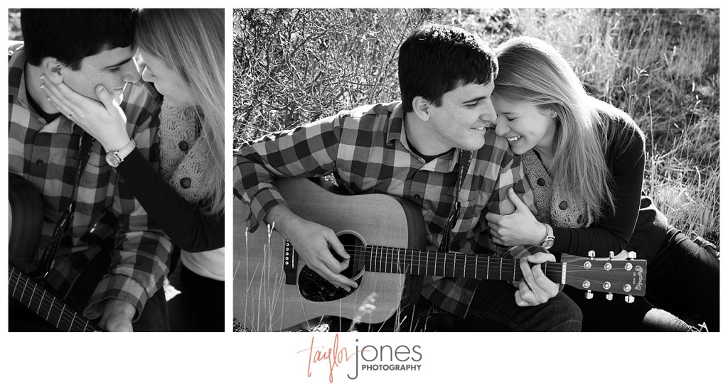 couple sitting in a field in Evergreen playing guitar engagement shoot in winter