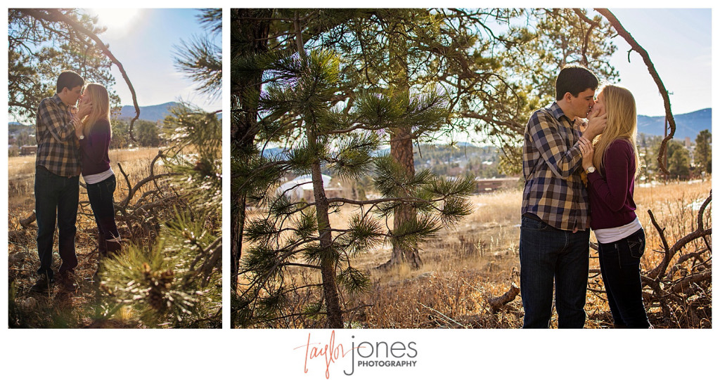 Couple kissing in Evergreen Colorado engagement shot