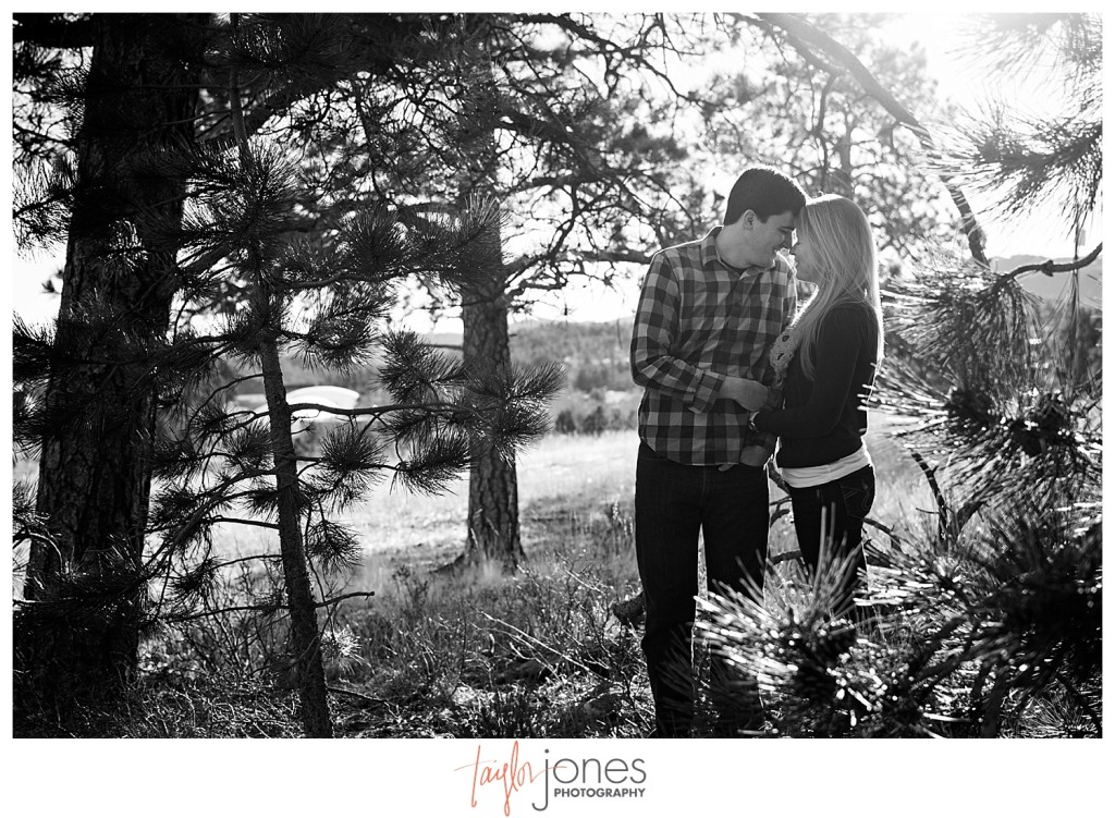 Evergreen engagement shoot in winter