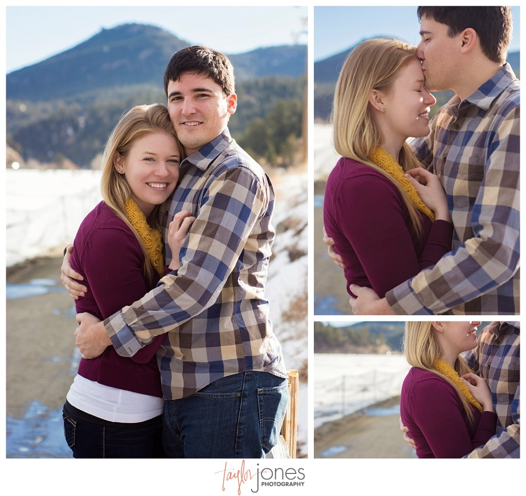 Couple at Evergreen Lake House engagement shoot